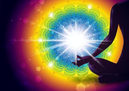 Mudra Yoga Gyan Decorated Mandala-Effects And Gradient Mesh-EPS 10  イラスト・ベクター素材