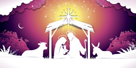 Christmas banner nativity sunset scene with the Holy Family Landscape-transparency blending effects and gradient mesh  イラスト・ベクター素材