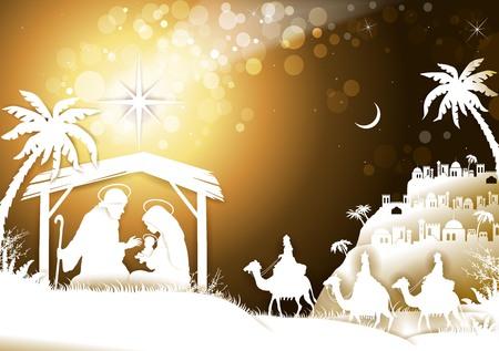 The Holy Family With King Wise Men on Golden Sky-transparente Mischeffekte und Verlaufsgitter