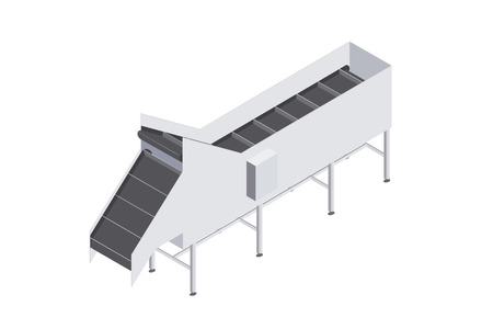 Factory automated with conveyor belt with volumetric capacity. Ilustracja