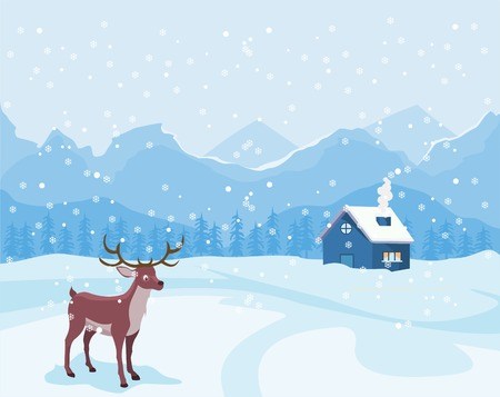 Christmas landscape in winter with house and reindeer.
