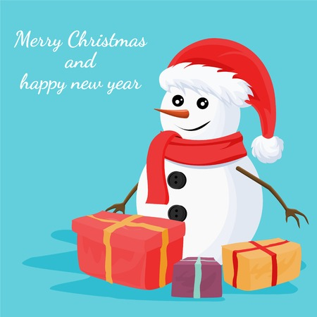 Christmas snowman card design of merry christmas and happy new year with gifts boxes and ornaments. Vector illustration.