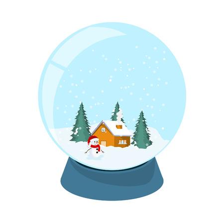 Design of crystal ball of the north pole, snow, tree, snowman. Vector illustracion. Illustration