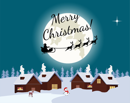 Christmas night landscape full moon with flying santa claus, christmas card. Ilustrace