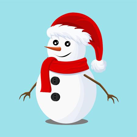 Christmas vector card with a snowman with Santa Claus hat. Christmas card, vector design illustration.