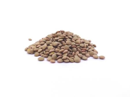 Raw lentils on white background Archivio Fotografico
