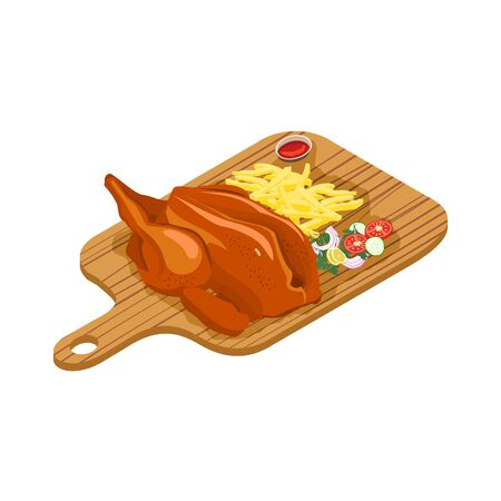 Delicious grilled chicken with french fries and salad with onion, cucumber, tomato and chili. Vector illustration
