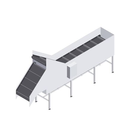 Factory automated with conveyor belt with volumetric capacity. Automated production line in the plant. Machinery for food engineering. Isometric vector flat 3d illustration