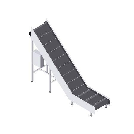 Automatizado en fábrica con carretilla elevadora de cinta transportadora. Línea de producción automatizada en planta. Maquinaria para ingeniería alimentaria. Ilustración 3d plana vectorial isométrica Ilustración de vector