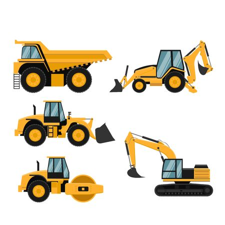 Set of heavy construction and mining machinery Vector Illustratie