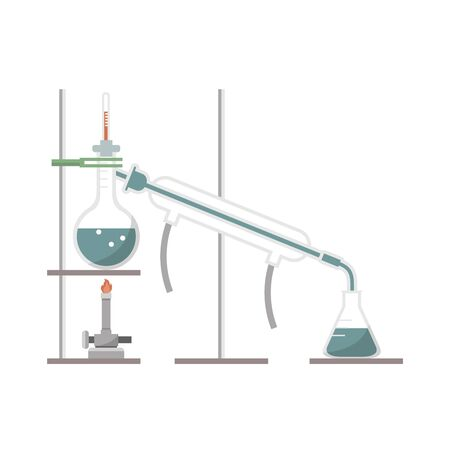 Simple distillation model in chemistry laboratory Illustration