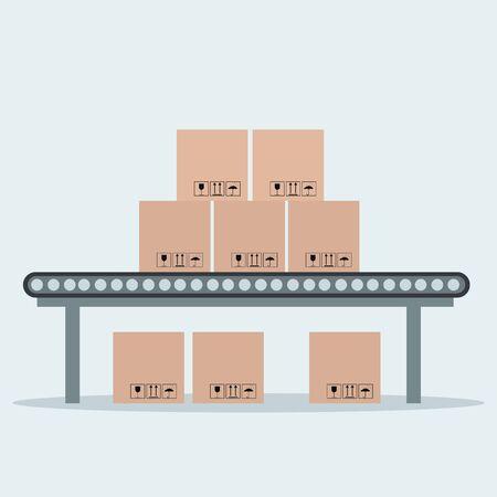 Industrial conveyor belt with packaging