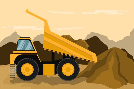 Mining truck doing construction and mining. Heavy machinery Stock Illustratie
