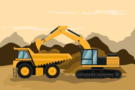 Mining truck and caterpillar backhoe doing construction and mining work Stock Illustratie