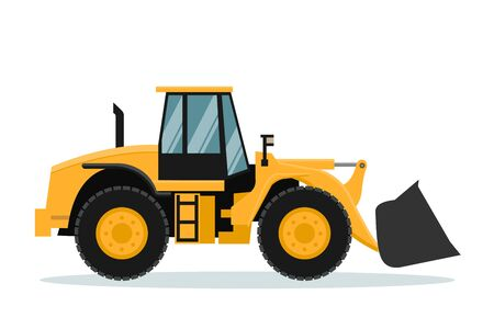 Vektordesign des Frontladers. Schwere Maschinerie Vektorgrafik