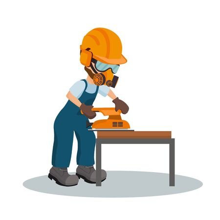 Male carpenter sanding a wooden plank with a sander with industrial safety equipment. Vector illustration Illustration