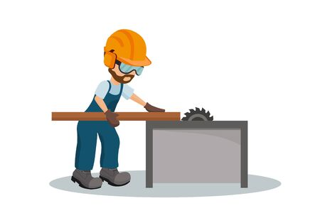 Male carpenter cutting a wooden plank with os industrial safety equipment. Vector illustration