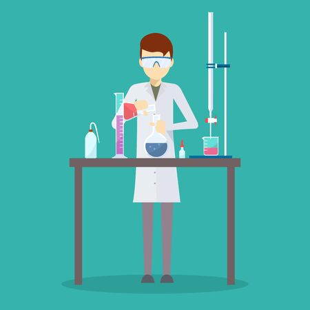 Vector design of scientist in his chemistry lab.