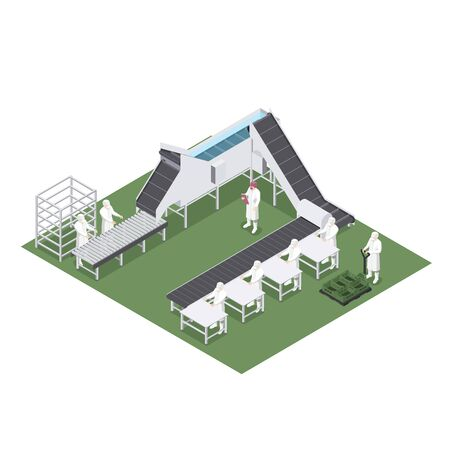 Automated production line with machinery used in the food industry 일러스트
