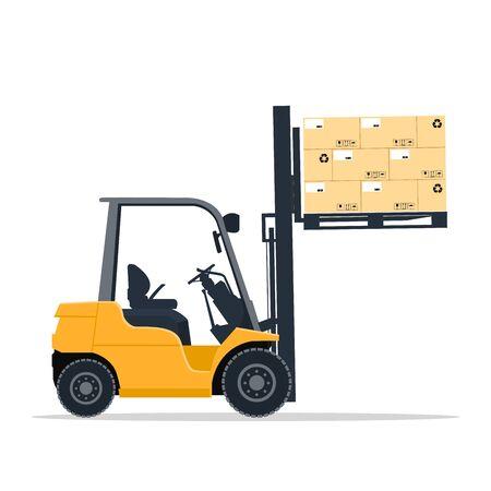 Conception de chariot élévateur industriel soulevant des boîtes en carton sur une palette