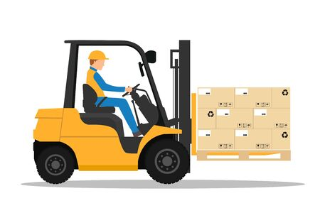 Forklift truck with man driving. Industrial forklift vector design