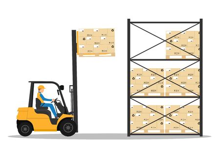 Forklift with man driving in the warehouse