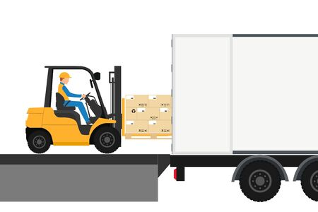 Wózek widłowy z człowiekiem jadącym w kontenerze na eksport