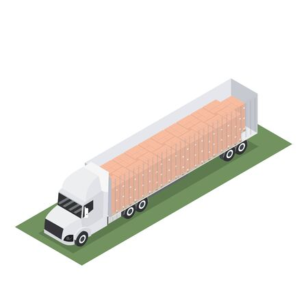 Isometric trailer design with container for export with pallet