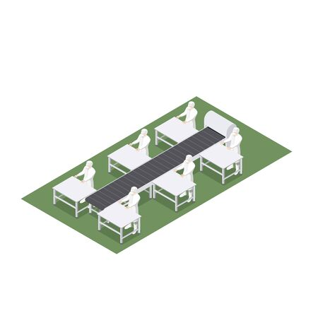 Automated production line with conveyor belt in food engineering
