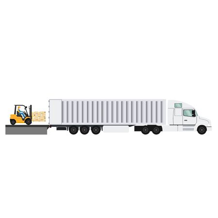 Design of container trailer with forklifts lifting pallet