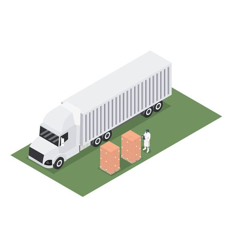 Isometric design of trailer container with shipment of export pallet Ilustração