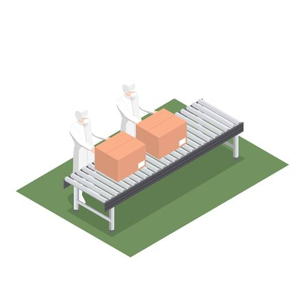 Production line for product packaging in the food industry with conveyor belt