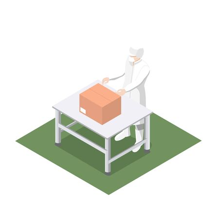 Work packaging product into a production line