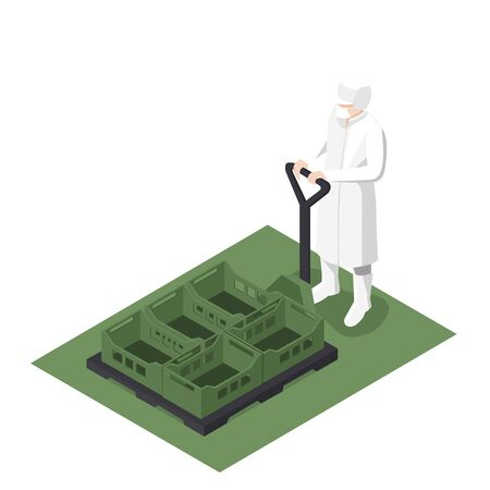 Worker using an isometric manual forklift 일러스트