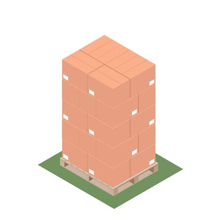 Isometric design of pallet with stacked boxes for export