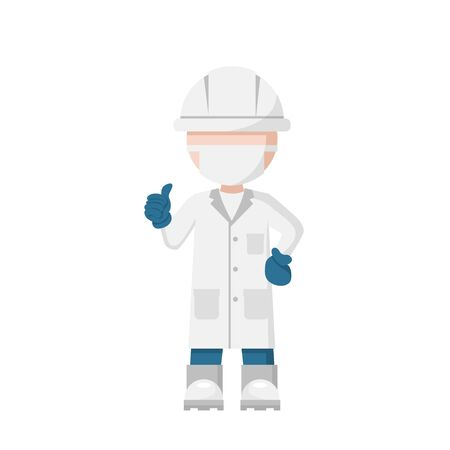 Chief food safety engineer design, quality control supervisor Illustration