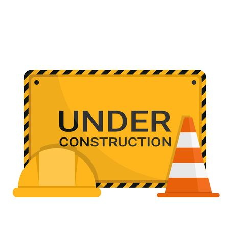Under construction advertising sign with safety cone and safety helmet Ilustração
