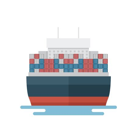 Transportation Logistics Container transport boat for marine export in front view