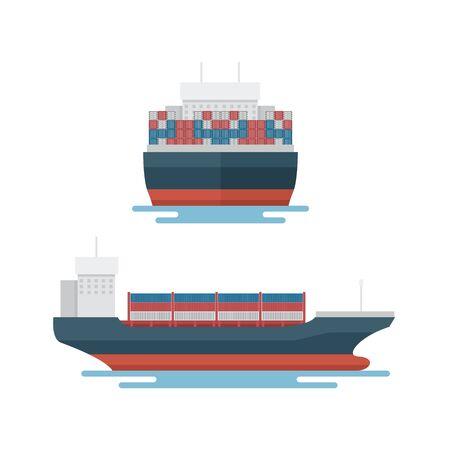 Transportation Logistics Container transport boat for marine export Illusztráció