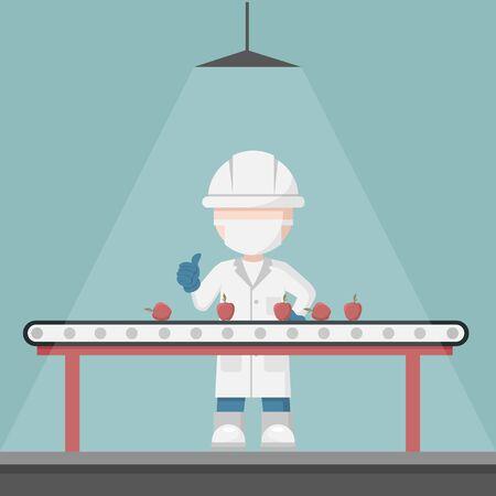 Superviseur contrôle qualité dans une ligne de production de sélection de fruits. Bande transporteuse de nourriture Vecteurs
