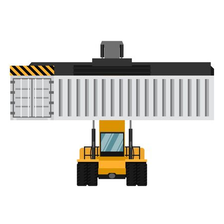 Container cargo forklifts. Industrial forklift vector design from front view. Export Logistics