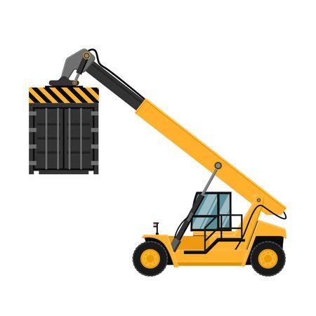Container cargo forklifts. Vector design of industrial forklift from profile view. Export Logistics