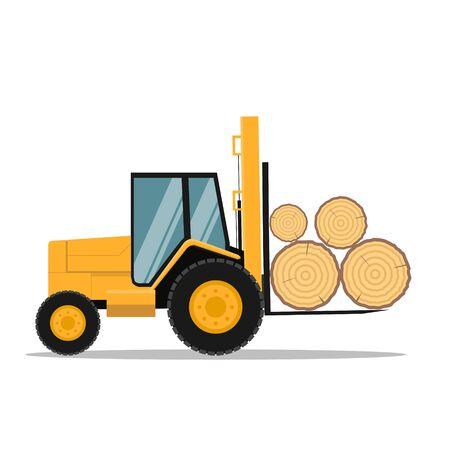 Vector design of all terrain forklift loading tree trunks Ilustração