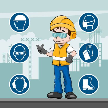 Worker with his personal protective equipment and security icons Vector Illustratie