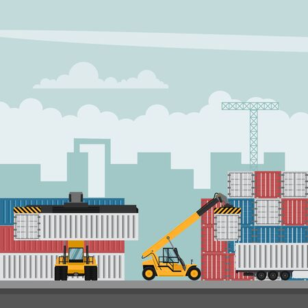 Diseño de terminal portuaria de contenedores para exportación. Camiones portacontenedores trabajando Ilustración de vector