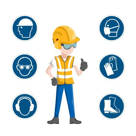 Industrial safety icons, worker with his personal protective equipment