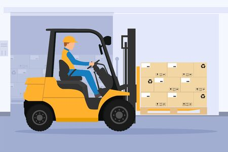 Forklift with man driving tunnel cooling chamber