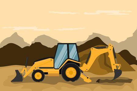Retro excavator doing construction and mining work. Heavy machinery