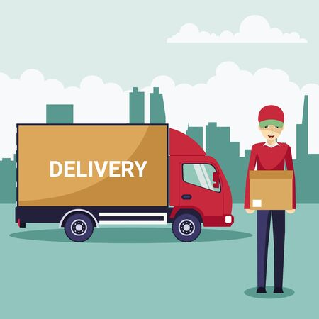 Delivery transport truck with delivery man