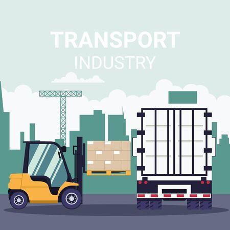 Industrial transport logistics with forklift loading pallet truck container Standard-Bild - 142546368